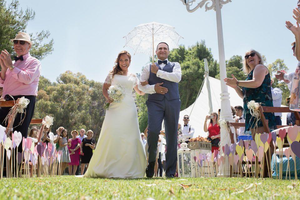 Llegada novia ceremonia civil Jardín Palacio Monte Miramar Málaga Boda Alba y Paco