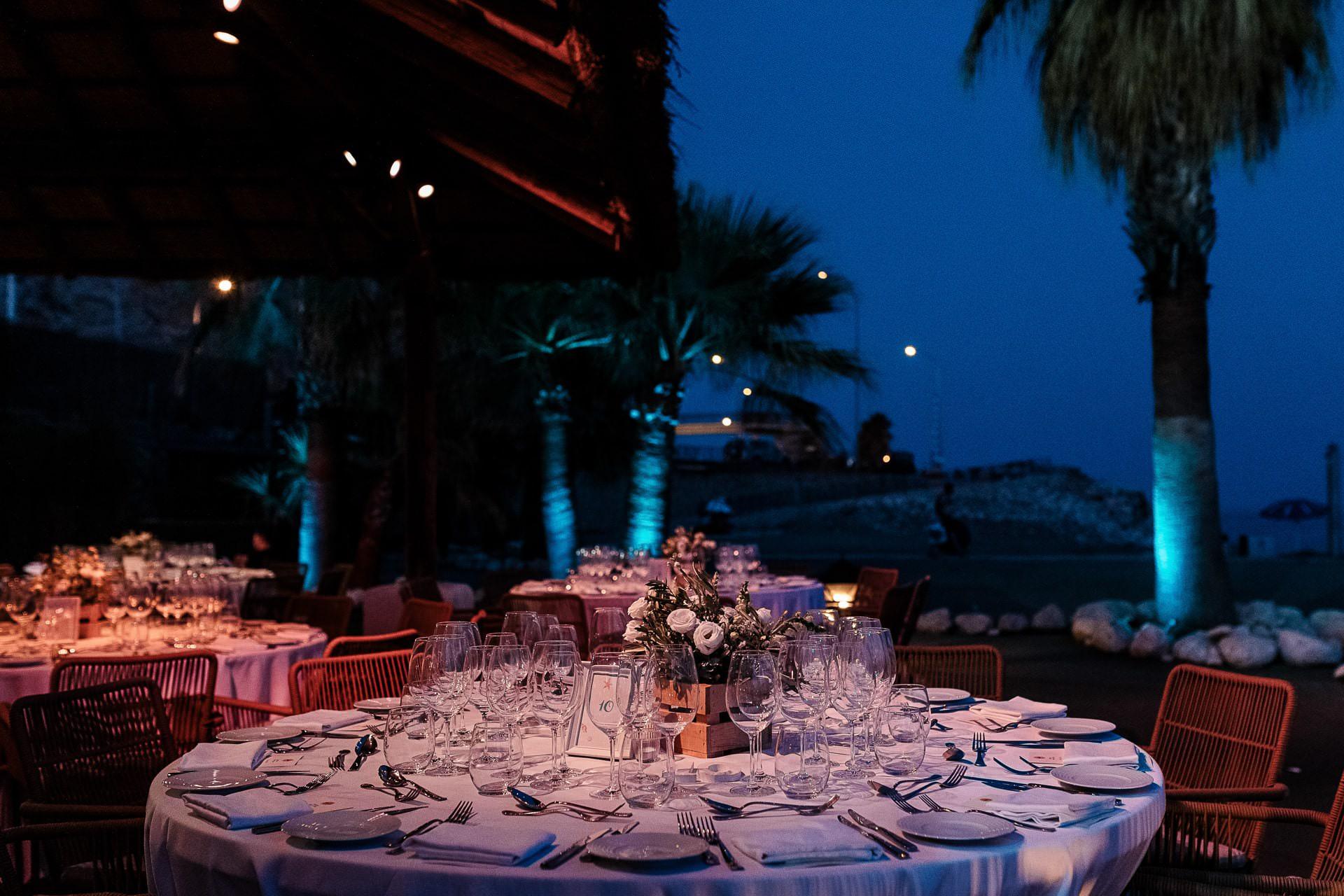 Decoración mesas boda Candado Beach Málaga