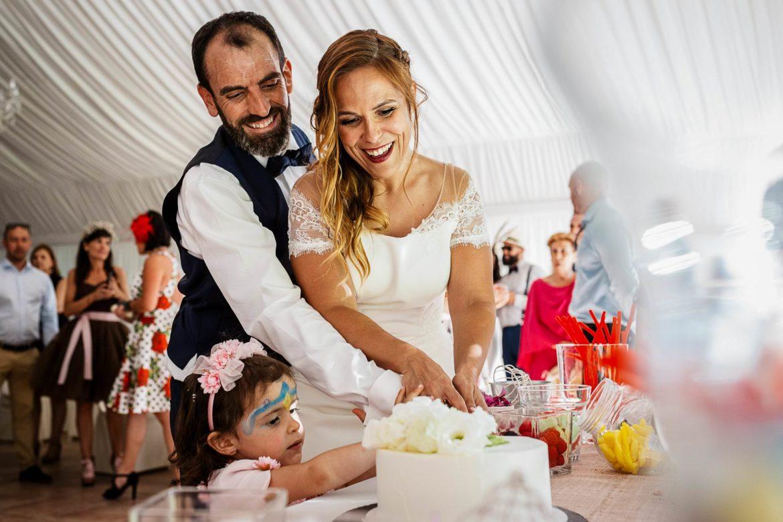Corte de tarta nupcial en Palacio Monte Miramar