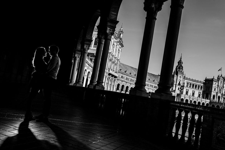 Preboda en la Plaza de España de Sevilla